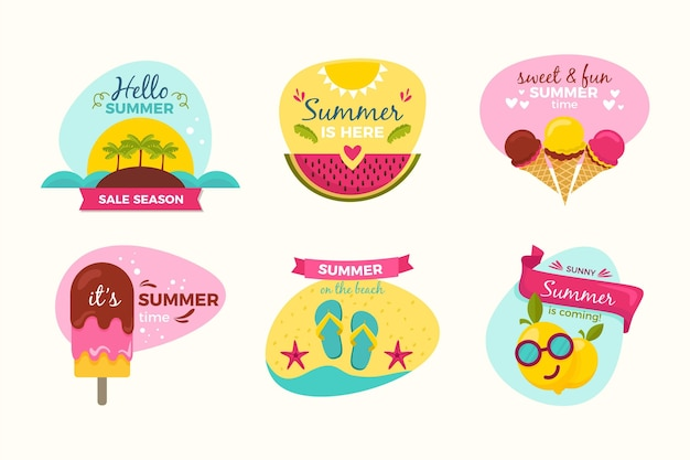 Concetto di badge estate disegnato