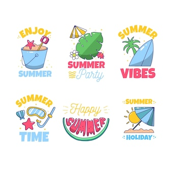 Drawn summer labels