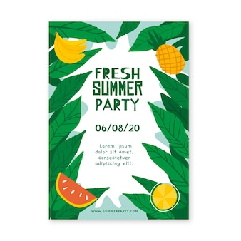 Drawn summer party poster template