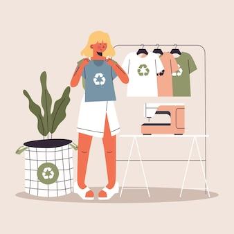 描かれた持続可能なファッションの概念