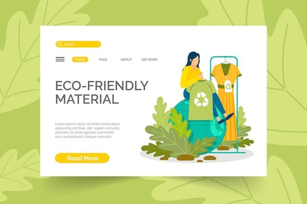 描かれた持続可能なファッションのwebテンプレート