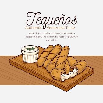 Drawn tequeños sticks with sauce