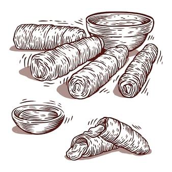 Нарисованные текеньо с соусом