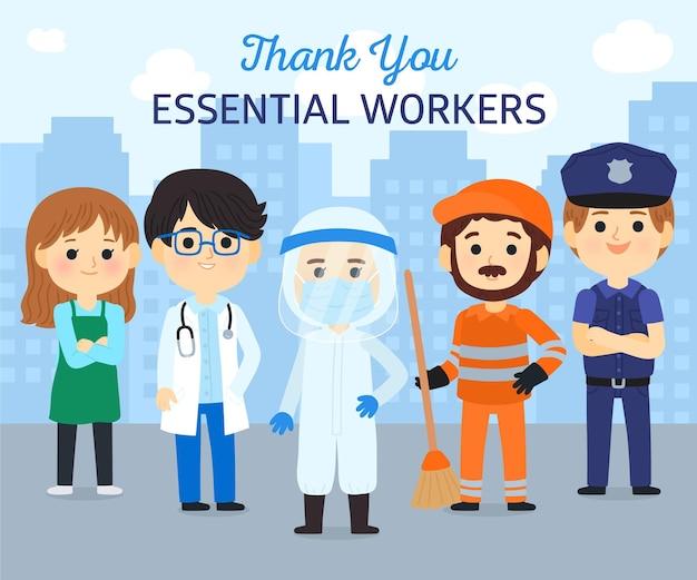 Disegnato grazie lavoratori essenziali