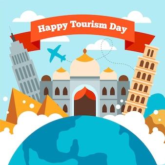 Нарисованная иллюстрация дня туризма с разными достопримечательностями