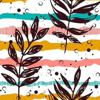 줄무늬 배경 완벽 한 패턴에 그려진된 열 대 잎. 꽃무늬 프린트가 있는 색상 줄무늬입니다. 흰색 바탕에 섬유 열대 여름 패턴입니다. 열대 잎이 있는 에스닉 패브릭 프린트.