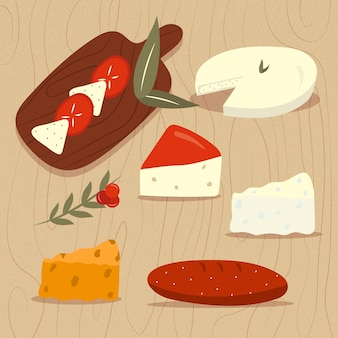 Drawn types of cheese on wooden board