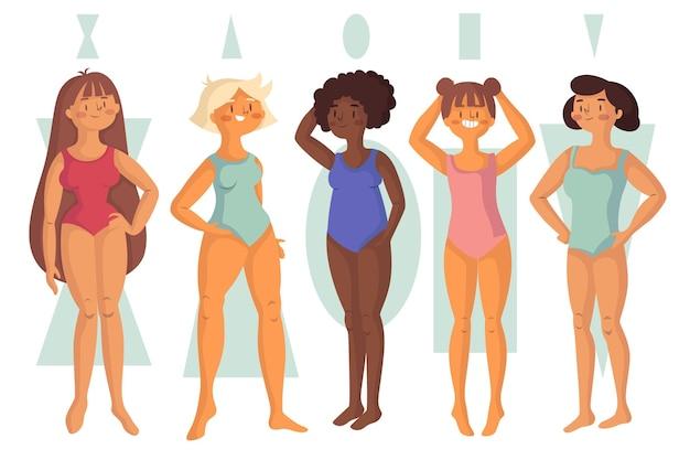 Tipi disegnati di forme del corpo femminile