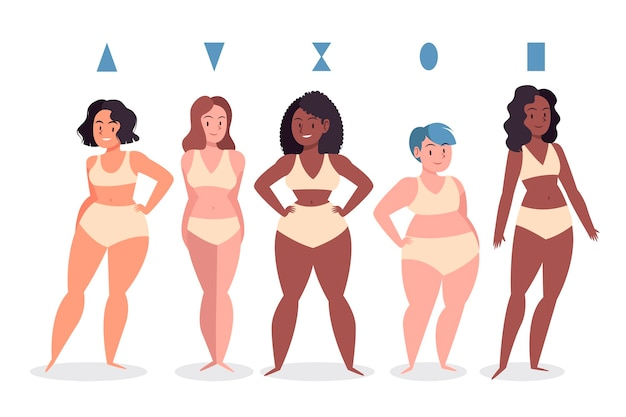 Drawn types of female body shapes