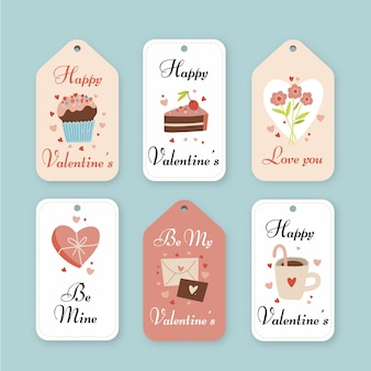 Drawn valentine's day badges