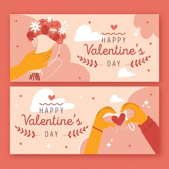 Drawn valentine's day banners collection