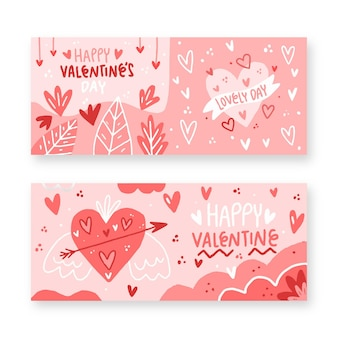 Drawn valentine's day banners pack
