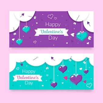 Pacchetto di banner disegnati di san valentino