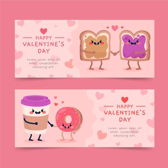 Drawn valentine's day banners set