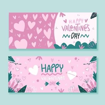 Drawn valentine's day banners set