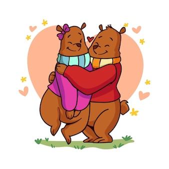 그려진 된 발렌타인 곰 커플