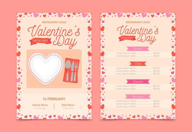 Нарисованное меню дня святого валентина