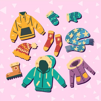 Drawn winter clothes collection