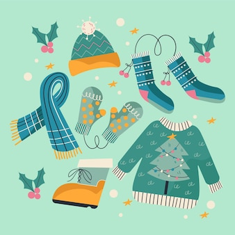 Drawn winter clothes and essentials pack