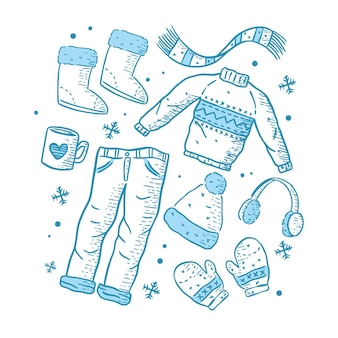 Drawn winter clothes and essentials