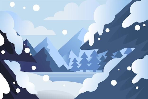 그린 된 겨울 숲 배경