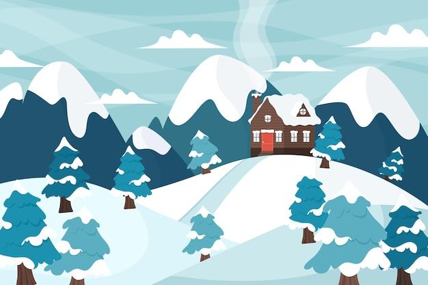 그려진 된 겨울 풍경 배경