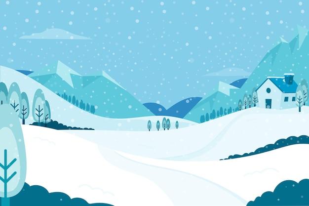 描かれた冬の風景の壁紙