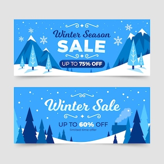 Drawn winter sale banners collection