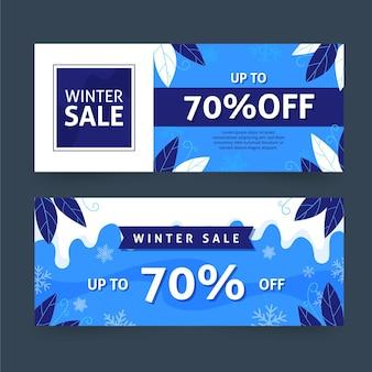 Pacchetto di banner di vendita invernale disegnato