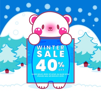 Drawn winter sale illustration with cute polar bear