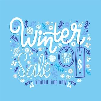 Iscrizione di vendita invernale disegnata