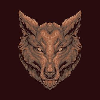 그려진 된 늑대 머리 그림