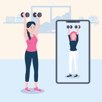 Нарисованная женщина делает онлайн-спортивные занятия