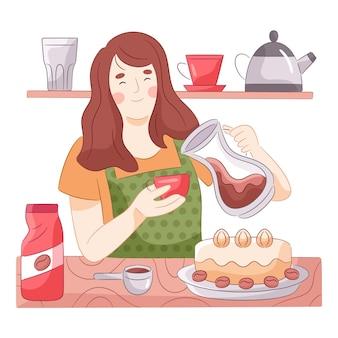 Donna disegnata che prepara il caffè nella sua cucina
