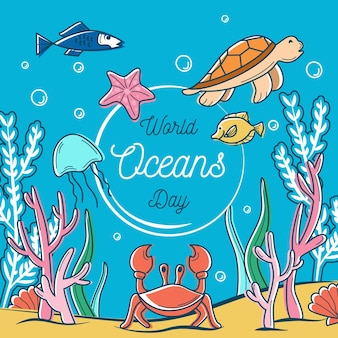 Drawn world oceans day illustration concept