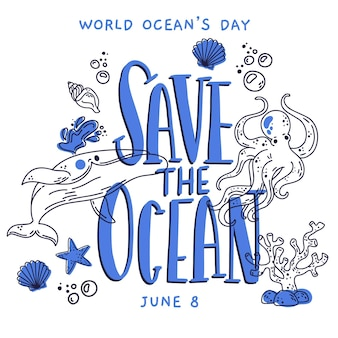 Drawn world oceans day illustration theme
