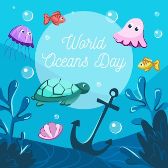 Drawn world oceans day illustration