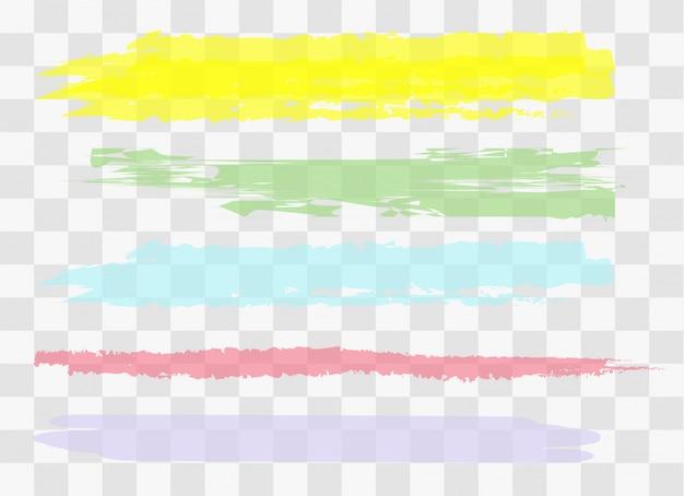 描かれた黄色のマーカーストライプ。異なる色のしみ。