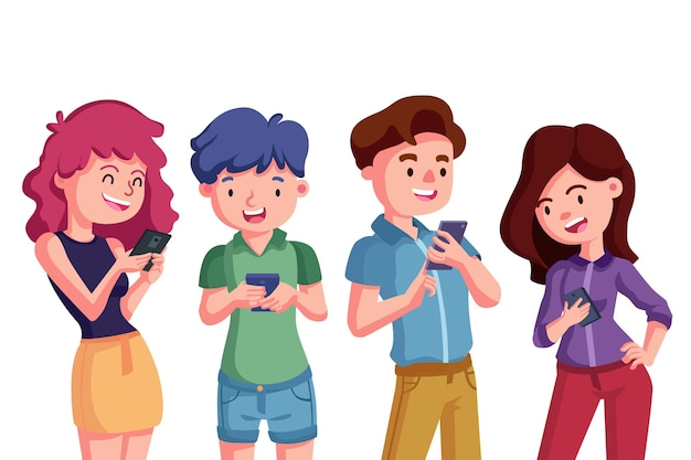 Drawn young people using smartphones