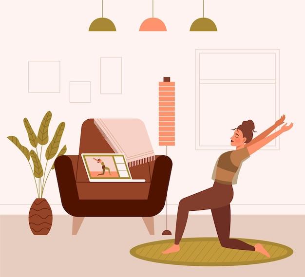 Нарисованная молодая женщина делает онлайн-спортивные классы
