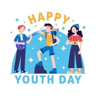 Drawn youth day illustration