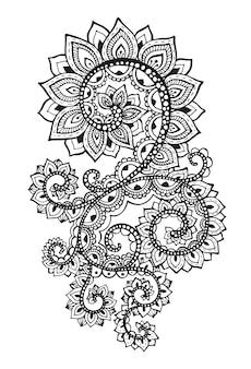 Красивые руки drawn абстрактные прокрутки цветы в стиле каракули.