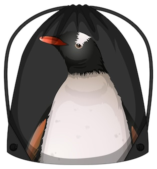 Drawstring backpack with penguin pattern