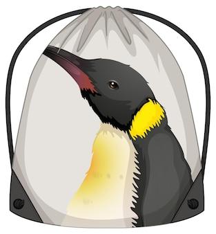ペンギン柄の巾着バックパック