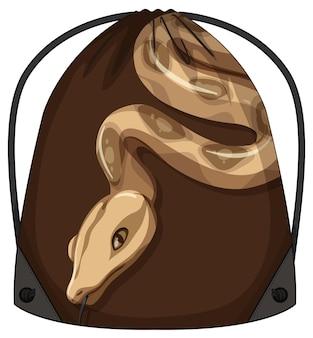 ヘビ柄の巾着バックパック