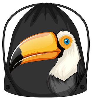 Drawstring backpack with toucan pattern
