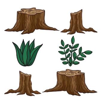 Drawtree切り株イラストの根と草のいくつかの刃を持つ漫画の大きな木の切り株のイラスト