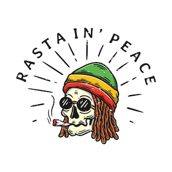 Dreadlocks rasta skull illustration smoking and wearing a hat in vintage style on white background
