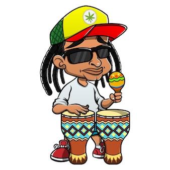 레게 음악과 함께 타악기와 전통 드럼을 연주하는 dreadlocks 거리 음악가
