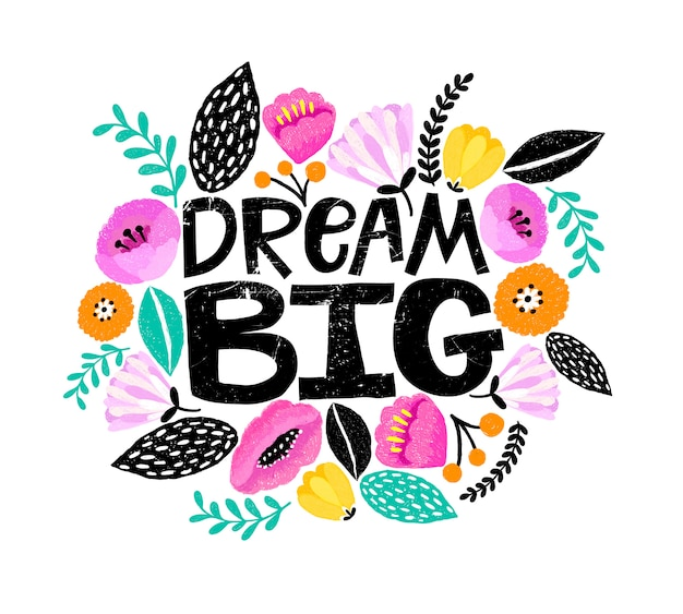 Dream big, lettering card with flowers around.